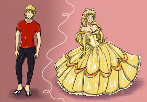 Before n After TG Yellow Ballgown by K1tty-Marshmell0w