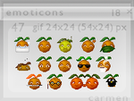 Emoticons 18 - oranges by helca-k