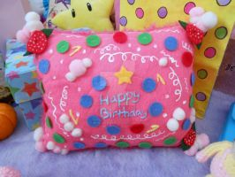 Mario Party Peach's Birthday Cake Pillow by MadameWario