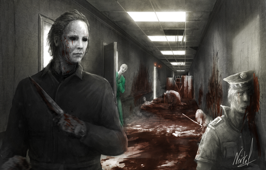 Hallway - featuring Michael Myers by Nerva1