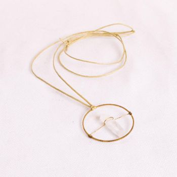 Crystal Quartz and Brass Necklace by SquirrelzUpcycling