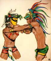 Tezcatlipoca and Quetzalcoatl by FleurDeVive