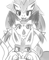 zoroark,lucario and mienshao by Anarr10