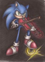 Sonic Playing Violin by SonicBornAgain