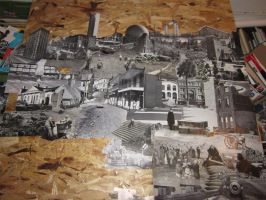 12x4 ft Black and White Collage (in progress) 1 by PancreasSupervisor