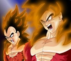 Goku and Vegeta ssj4 by Tallinlevai