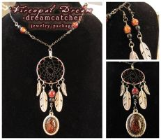 Fireopal Dream - dreamcatcher jewelry package by SaQe