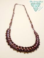 Beaded Necklace, Amethyst Luster, Purple Right Ang by TheSortedBead