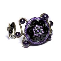 steampunk bracelet purple by CatherinetteRings