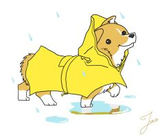 Corgi in a Raincoat by JoieArt