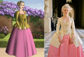 Marie Antoinette, Gold and Pink Gown by Inuyashasmate
