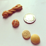 Tiny challah, tiny kasier roll, tiny hamburger bun by jamietownsend