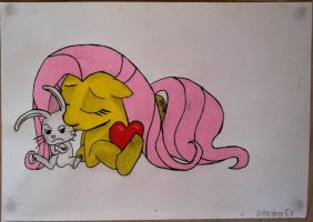 Fluttershy and Angel by FlutterRain