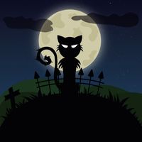 Halloween Black Cat - Illustrator First Try by JaxOo