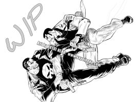 WIP Punisher vs. Golgo 13 by Thundertori