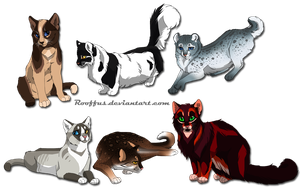 6 custom batch cats- Rooffus commission by DancingfoxesLF