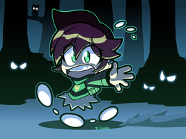 Julie running from spooky by rongs1234