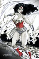 Wonder Woman in battle by martheus