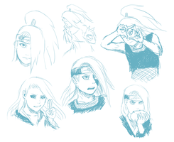Deidara sketches by k1deki