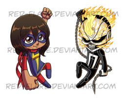 All new Ms. Marvel and Ghost Rider chibis by Red-Flare