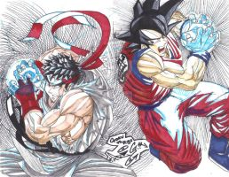 RYU vs GOKU final sketch by ScketchtopiA