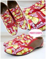 Red, Yellow and Pink Bow Brogues by ponychops