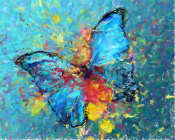 Oil Painting Blue butterfly by WolfLover887