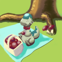 Oedipus the Cranidos having a picnic by eanbowman