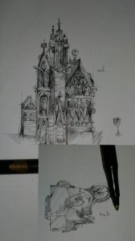 Architectural design for a Gothic mansion  by maxxxxfischer