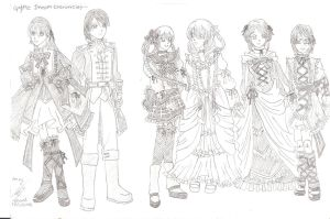 Gothic costume sketches ll by ILICarrieDoll