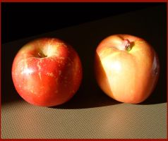 Two Glowing Organic Apples by 1footonthedawn