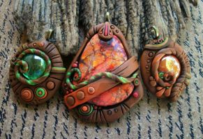 Terra Cotta and Green Pendant Trio by MandarinMoon