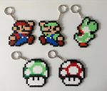 Super Mario Bros- Hama Bead Keyrings by Dogtorwho