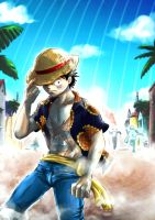 Commission Art - Luffy in Dressrosa by shevoj