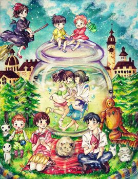 It's A Small World After All (Ghibli crossover) by heriumu-kaji