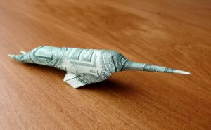 Dollar Origami Narwhal by craigfoldsfives