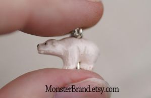 Tiny Polar Bear Necklace by MonsterBrandCrafts