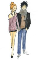 Luffy and Nami modern guys by Emma-is-drawing