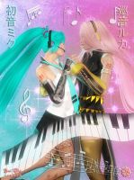 Miku and Luka: Sweetest Voice by Axel-Doi