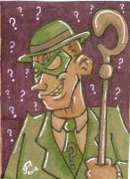 The Riddler cardboard sketch card by johnnyism