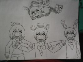 Sketching FNAF - Survive the Night (none colored) by academian