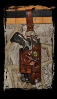 steampunk post-apo leather holster by Lagueuse