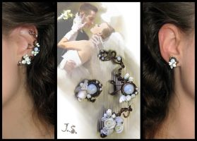Wedding floral ear cuff and stud by JSjewelry