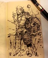 Sketchbook, viking looks at his sketch again by MyCKs