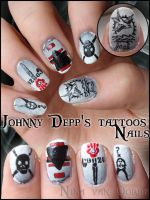 Johnny Depp's tattoos nails by Ninails
