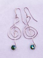 Treble Clef Earrings with Green Bead by FaerieForgeDesign