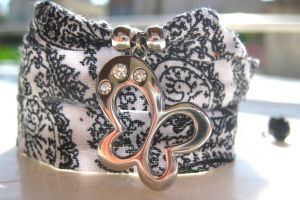 Sparkler Butterfly Triple Wrap Fabric Bracelet by pestenkerani