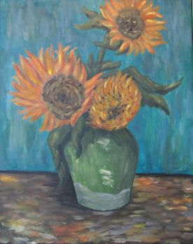 Three Sunflowers In A Vase by PumpkinJack6