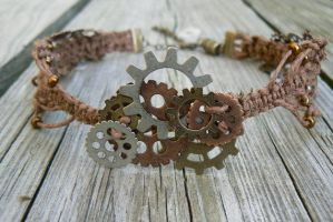 Day Dream-Steampunk Macrame Necklace/Choker by deathbysunset