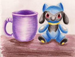 Riolu and a cup by eevee4everX3